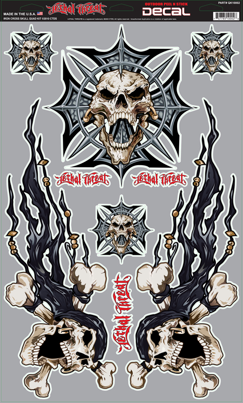 LETHAL THREAT Наклейка IRON CROSS SKULL SET